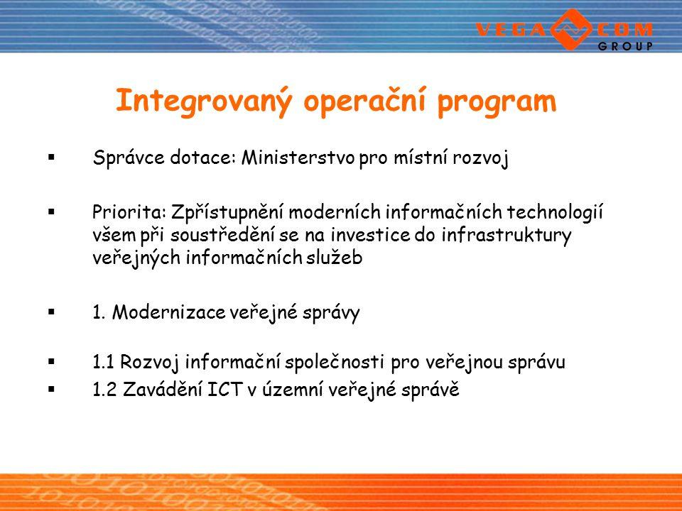 Integrovaný operační program  Správce dotace: Ministerstvo pro místní rozvoj  Priorita: Zpřístupnění moderních informačních technologií všem při sou