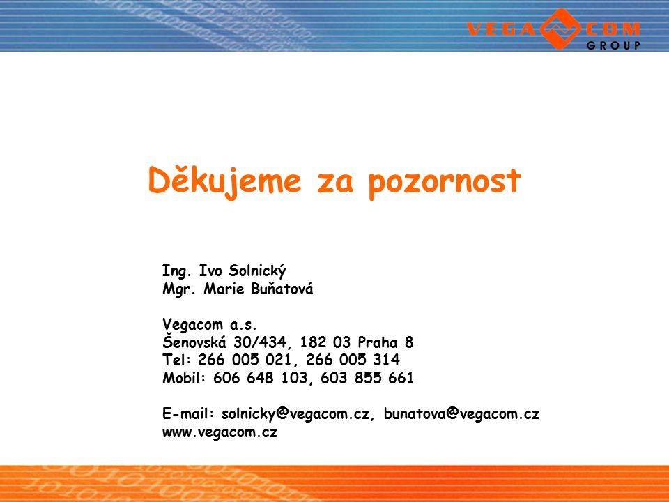 Děkujeme za pozornost Ing. Ivo Solnický Mgr. Marie Buňatová Vegacom a.s. Šenovská 30/434, 182 03 Praha 8 Tel: 266 005 021, 266 005 314 Mobil: 606 648