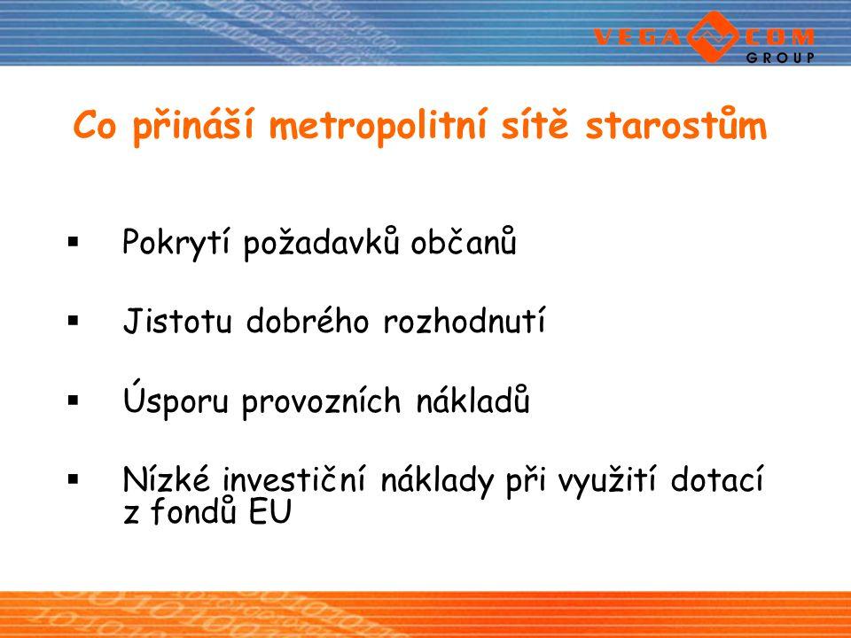 Co přináší metropolitní sítě starostům  Pokrytí požadavků občanů  Jistotu dobrého rozhodnutí  Úsporu provozních nákladů  Nízké investiční náklady