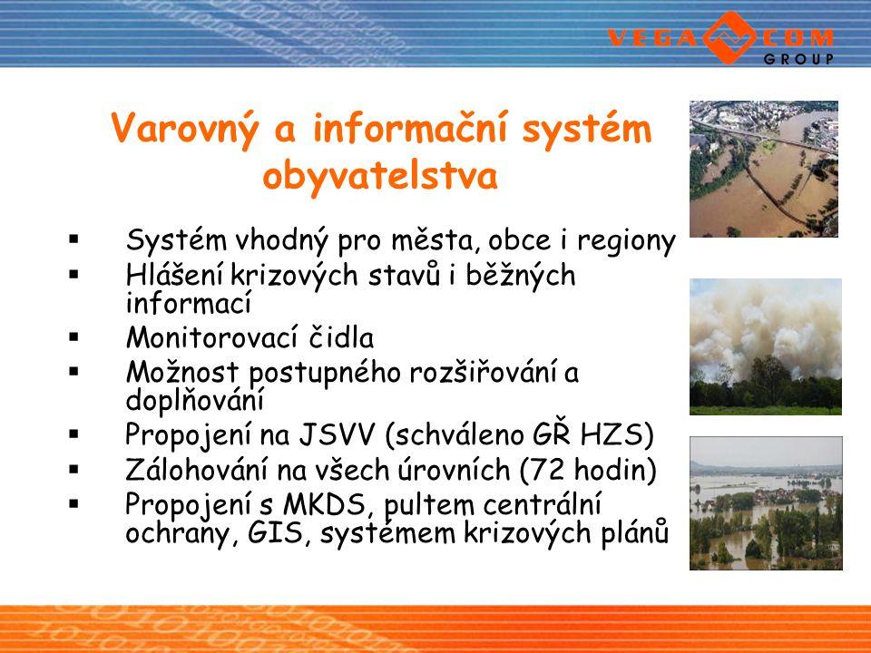 Varovný a informační systém obyvatelstva  Systém vhodný pro města, obce i regiony  Hlášení krizových stavů i běžných informací  Monitorovací čidla