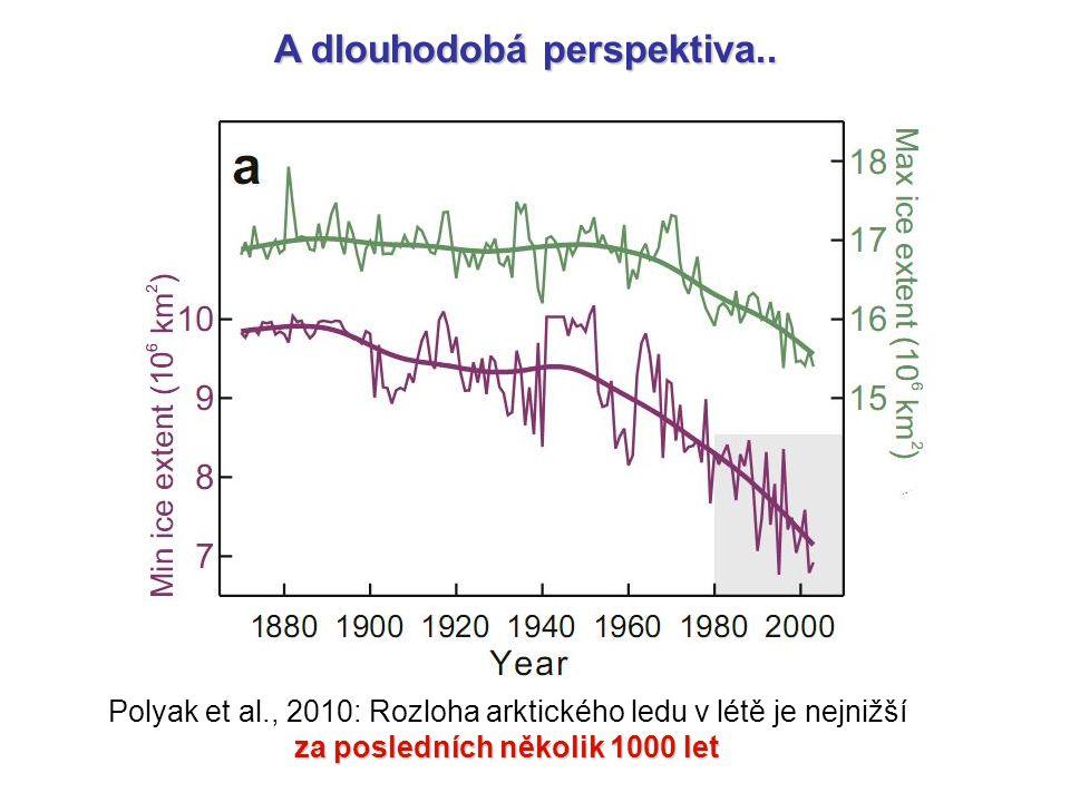 A dlouhodobá perspektiva.. Polyak et al., 2010: Rozloha arktického ledu v létě je nejnižší za posledních několik 1000 let