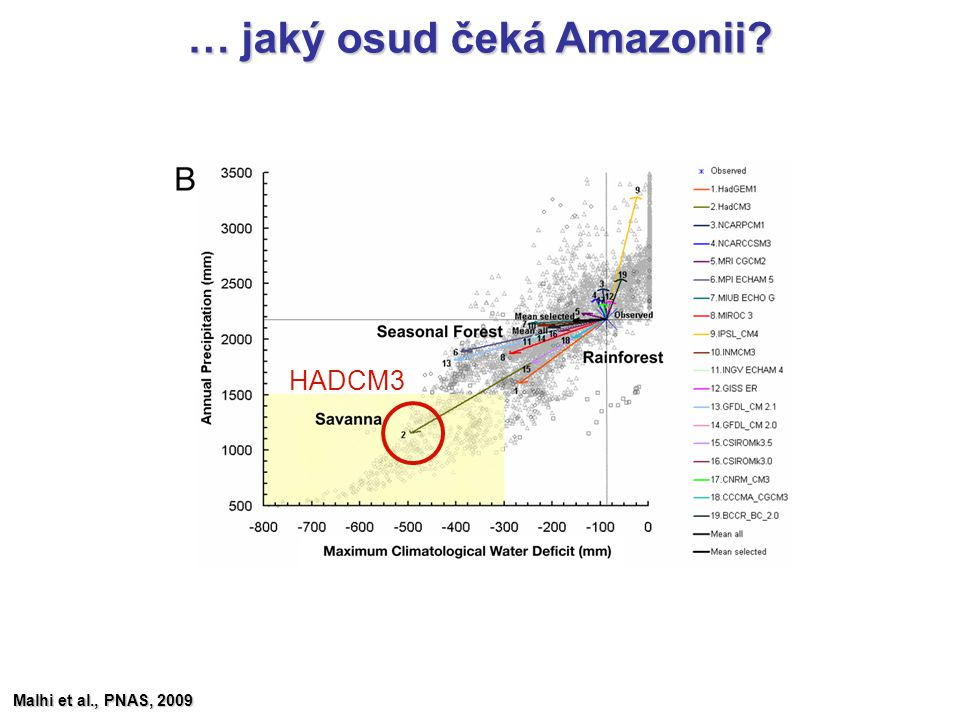 … jaký osud čeká Amazonii? Malhi et al., PNAS, 2009 HADCM3