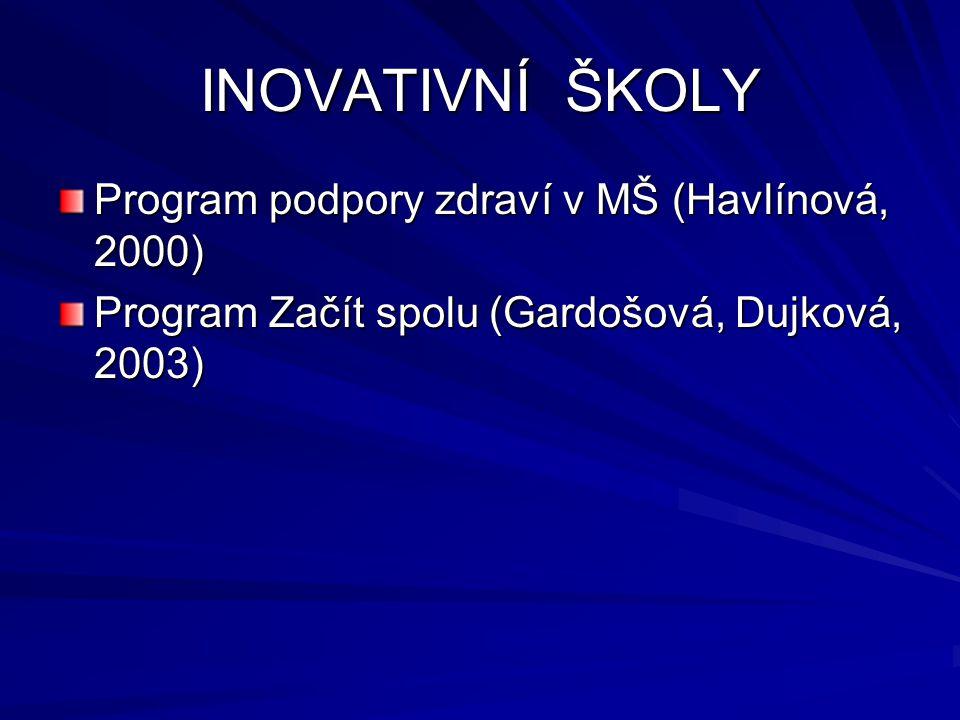 Program podpory zdraví v mateřské škole (Havlínová): - holistické pojímání zdraví - rozvoj zdravých životních návyků