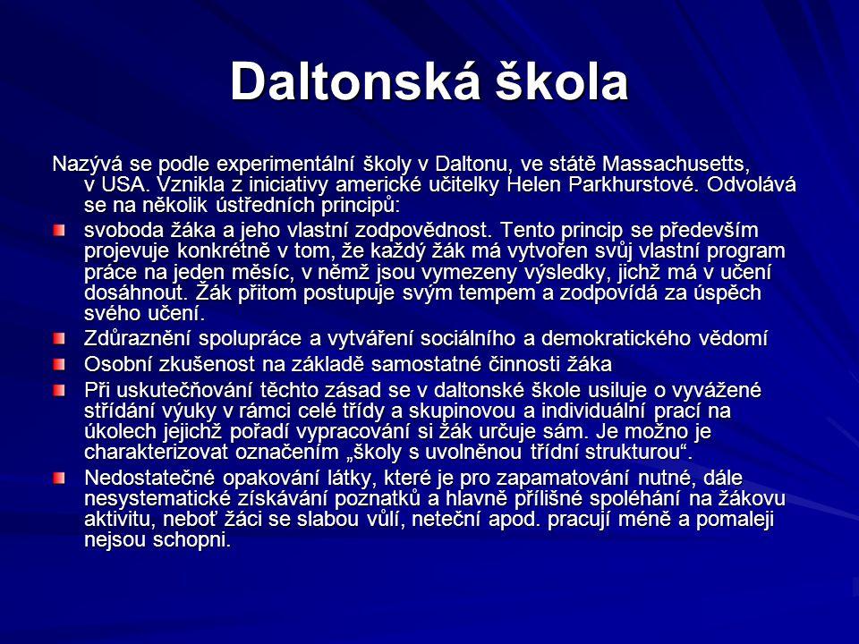 10.Alternativní školy Česká republika (reformní hnutí – rovina teorie) V.