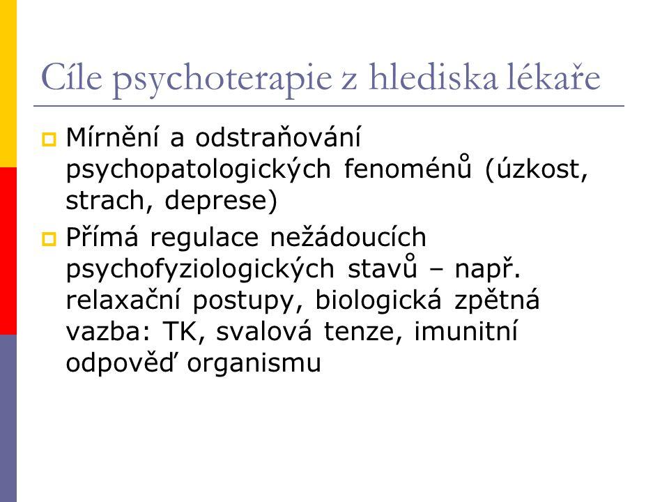 Cíle psychoterapie z hlediska lékaře  Mírnění a odstraňování psychopatologických fenoménů (úzkost, strach, deprese)  Přímá regulace nežádoucích psyc