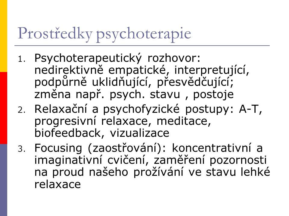 Prostředky psychoterapie 1. Psychoterapeutický rozhovor: nedirektivně empatické, interpretující, podpůrně uklidňující, přesvědčující; změna např. psyc