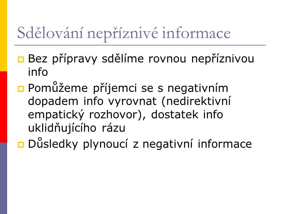 Sdělování nepříznivé informace  Bez přípravy sdělíme rovnou nepříznivou info  Pomůžeme příjemci se s negativním dopadem info vyrovnat (nedirektivní