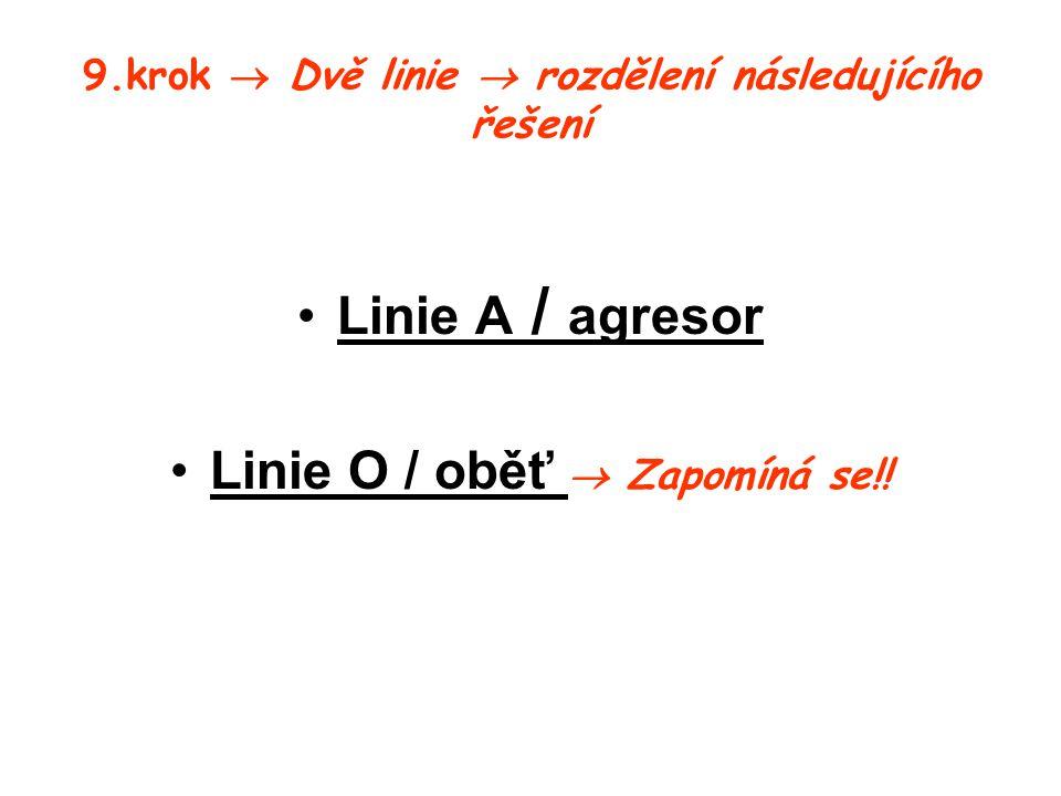 9.krok  Dvě linie  rozdělení následujícího řešení Linie A / agresor Linie O / oběť  Zapomíná se!!