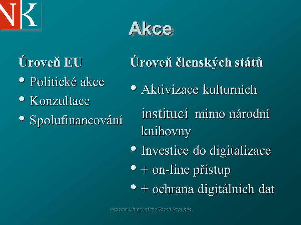 National Library of the Czech Republic AkceAkce Úroveň EU Politické akce Politické akce Konzultace Konzultace Spolufinancování Spolufinancování Úroveň členských států Aktivizace kulturních institucí mimo národní knihovny Investice do digitalizace + on-line přístup + ochrana digitálních dat