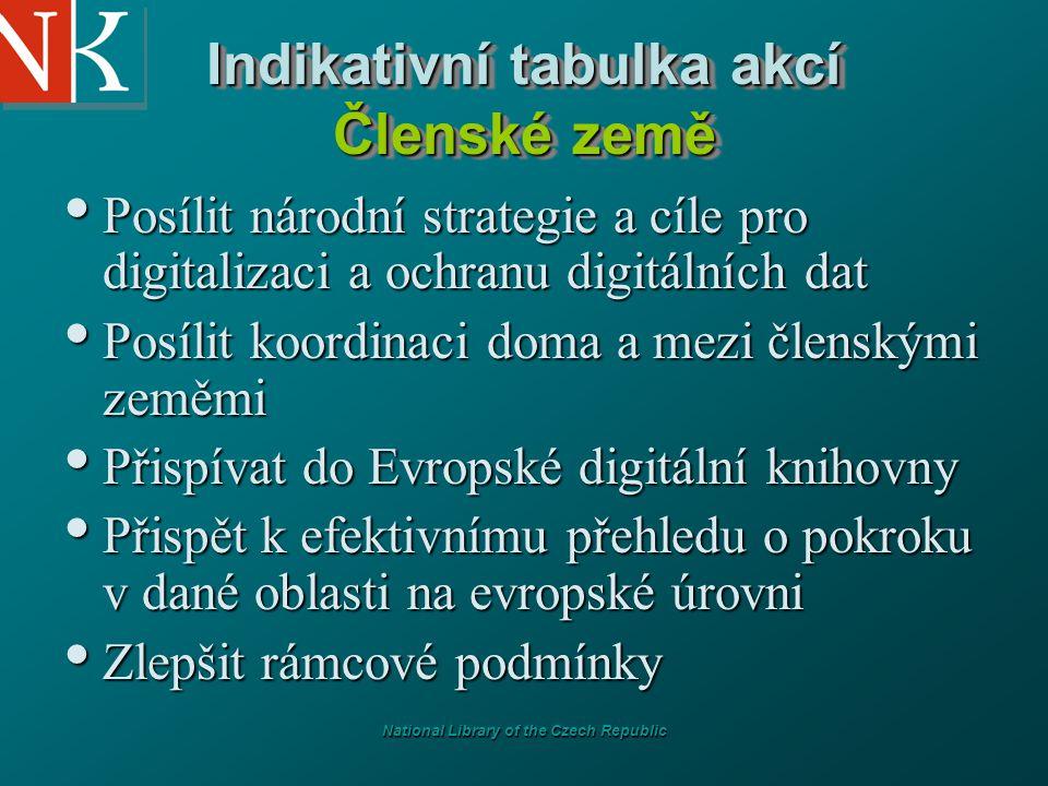 National Library of the Czech Republic Indikativní tabulka akcí Členské země Posílit národní strategie a cíle pro digitalizaci a ochranu digitálních d