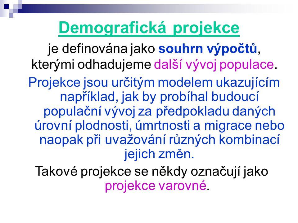 Demografická projekce je definována jako souhrn výpočtů, kterými odhadujeme další vývoj populace.