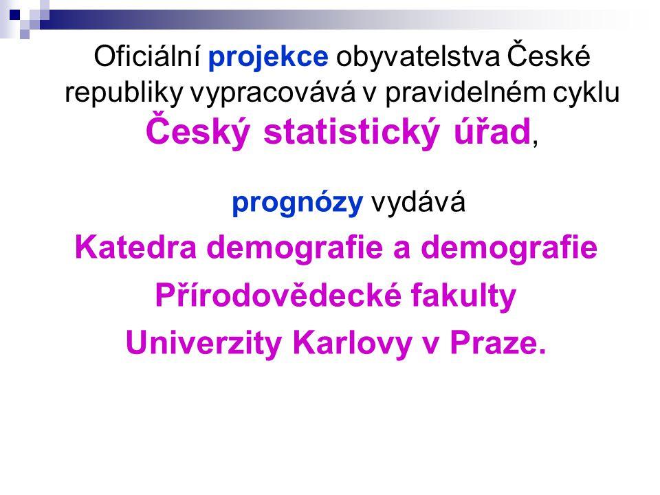 Oficiální projekce obyvatelstva České republiky vypracovává v pravidelném cyklu Český statistický úřad, prognózy vydává Katedra demografie a demografie Přírodovědecké fakulty Univerzity Karlovy v Praze.