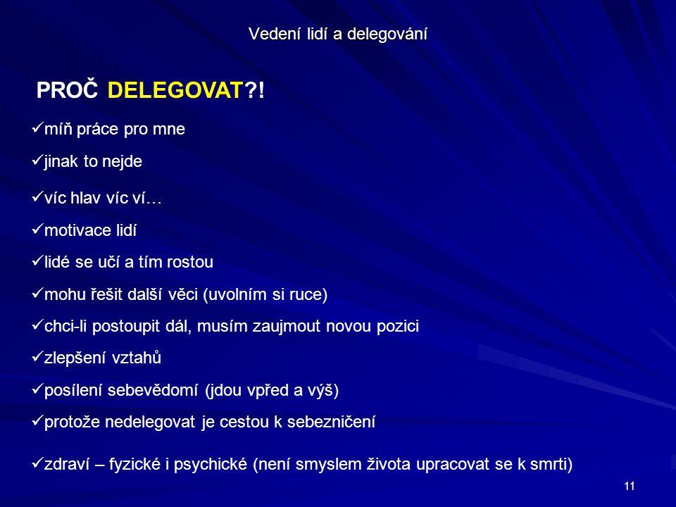 11 Vedení lidí a delegování PROČ DELEGOVAT .