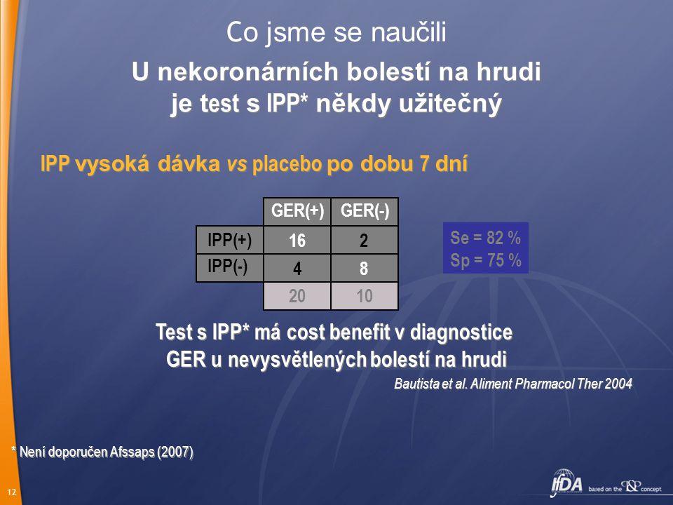 12 C o jsme se naučili IPP vysoká dávka vs placebo po dobu 7 dní GER(+)GER(-) IPP(+) Se = 82 % Sp = 75 % Test s IPP* má cost benefit v diagnostice GER u nevysvětlených bolestí na hrudi Test s IPP* má cost benefit v diagnostice GER u nevysvětlených bolestí na hrudi Bautista et al.