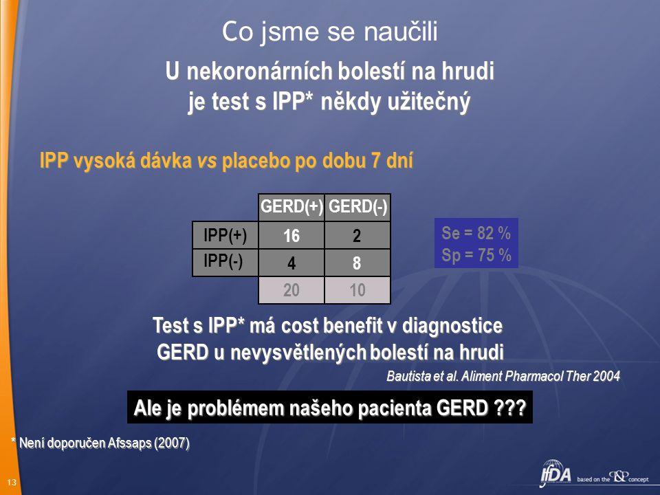 13 C o jsme se naučili IPP vysoká dávka vs placebo po dobu 7 dní GERD(+)GERD(-) IPP(+) Se = 82 % Sp = 75 % Test s IPP* má cost benefit v diagnostice GERD u nevysvětlených bolestí na hrudi Test s IPP* má cost benefit v diagnostice GERD u nevysvětlených bolestí na hrudi Bautista et al.