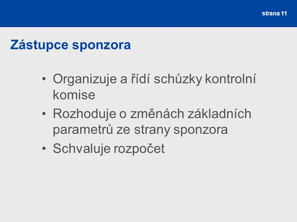 Zástupce sponzora Organizuje a řídí schůzky kontrolní komise Rozhoduje o změnách základních parametrů ze strany sponzora Schvaluje rozpočet strana 11