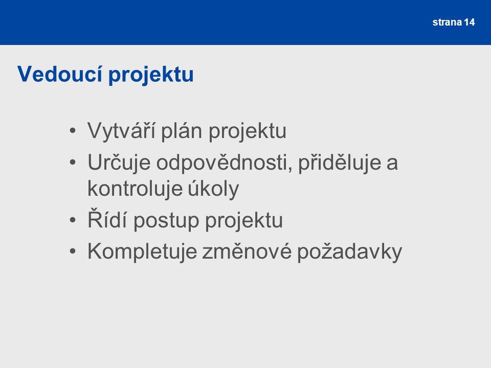 Vedoucí projektu Vytváří plán projektu Určuje odpovědnosti, přiděluje a kontroluje úkoly Řídí postup projektu Kompletuje změnové požadavky strana 14