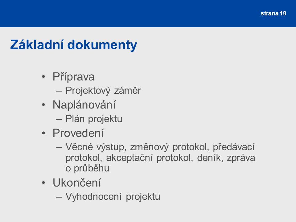 Základní dokumenty Příprava –Projektový záměr Naplánování –Plán projektu Provedení –Věcné výstup, změnový protokol, předávací protokol, akceptační pro