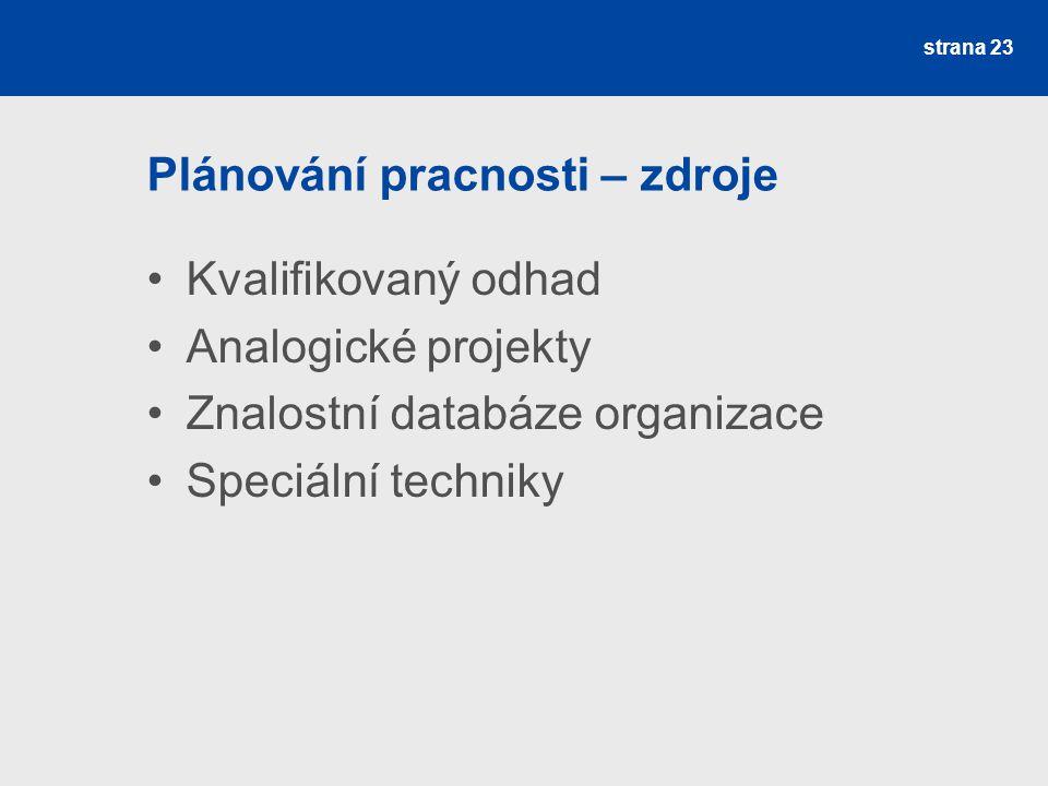 Plánování pracnosti – zdroje Kvalifikovaný odhad Analogické projekty Znalostní databáze organizace Speciální techniky strana 23