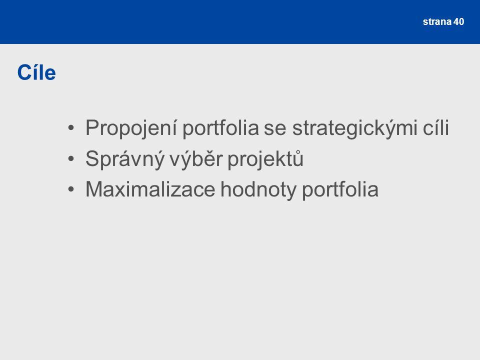 Cíle Propojení portfolia se strategickými cíli Správný výběr projektů Maximalizace hodnoty portfolia strana 40
