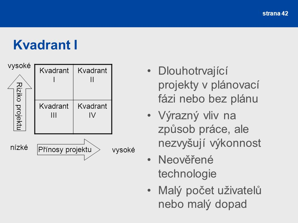 Kvadrant I Kvadrant II Kvadrant III Kvadrant IV Přínosy projektu Riziko projektu nízké vysoké Dlouhotrvající projekty v plánovací fázi nebo bez plánu Výrazný vliv na způsob práce, ale nezvyšují výkonnost Neověřené technologie Malý počet uživatelů nebo malý dopad strana 42