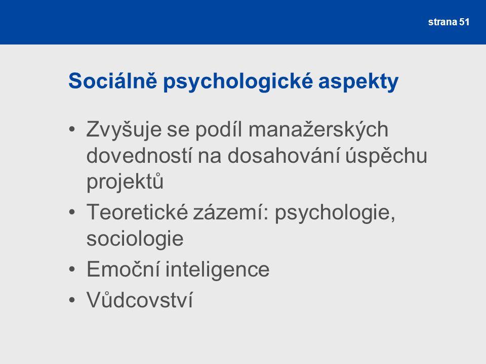 Zvyšuje se podíl manažerských dovedností na dosahování úspěchu projektů Teoretické zázemí: psychologie, sociologie Emoční inteligence Vůdcovství stran