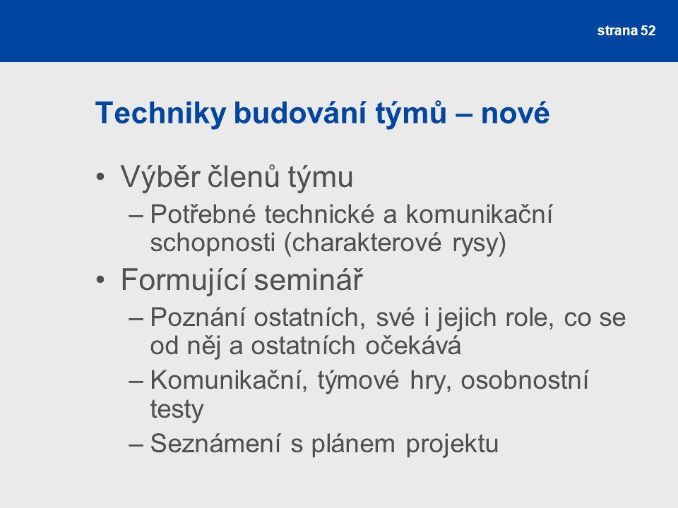 Techniky budování týmů – nové Výběr členů týmu –Potřebné technické a komunikační schopnosti (charakterové rysy) Formující seminář –Poznání ostatních,