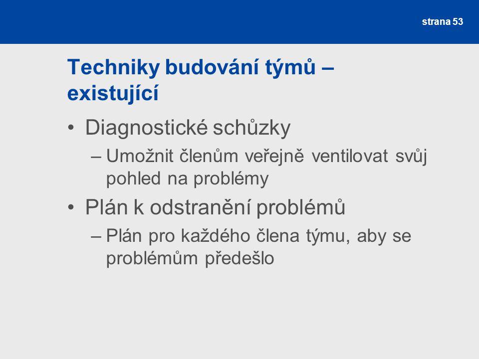 Techniky budování týmů – existující Diagnostické schůzky –Umožnit členům veřejně ventilovat svůj pohled na problémy Plán k odstranění problémů –Plán p