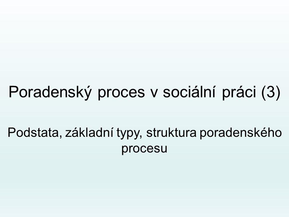 Poradenský proces v sociální práci (3) Podstata, základní typy, struktura poradenského procesu