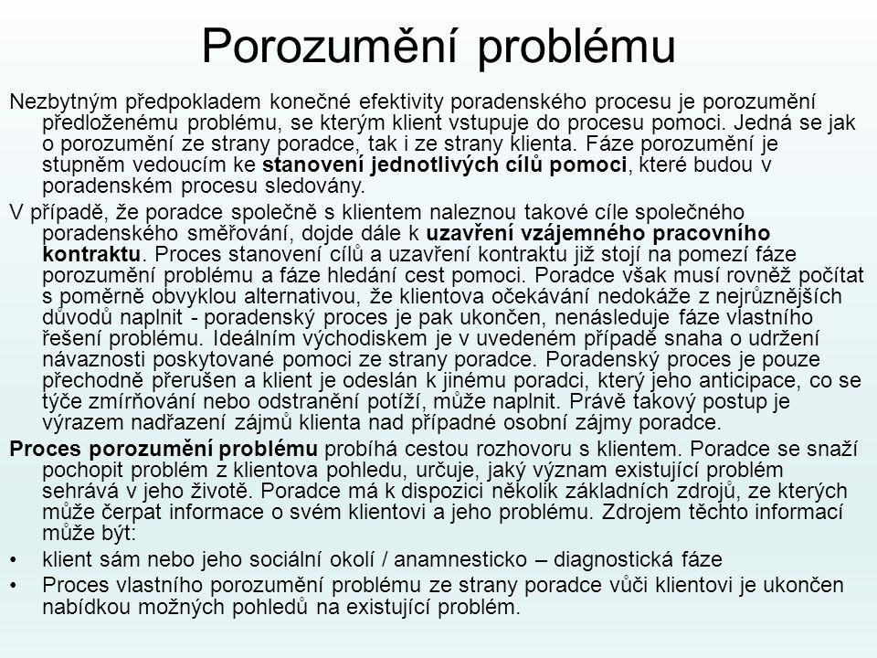 Porozumění problému Nezbytným předpokladem konečné efektivity poradenského procesu je porozumění předloženému problému, se kterým klient vstupuje do p