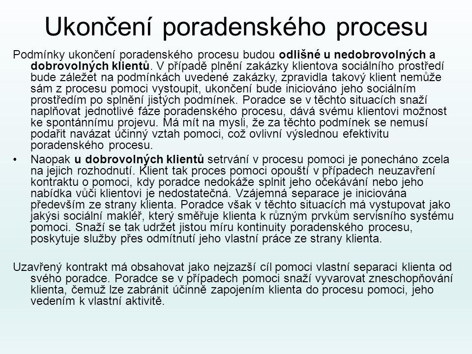 Ukončení poradenského procesu Podmínky ukončení poradenského procesu budou odlišné u nedobrovolných a dobrovolných klientů. V případě plnění zakázky k