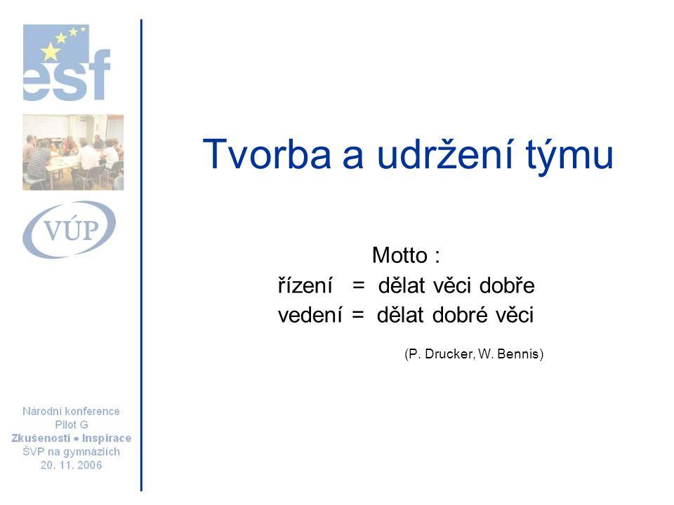 Tvorba a udržení týmu Motto : řízení = dělat věci dobře vedení = dělat dobré věci (P. Drucker, W. Bennis)