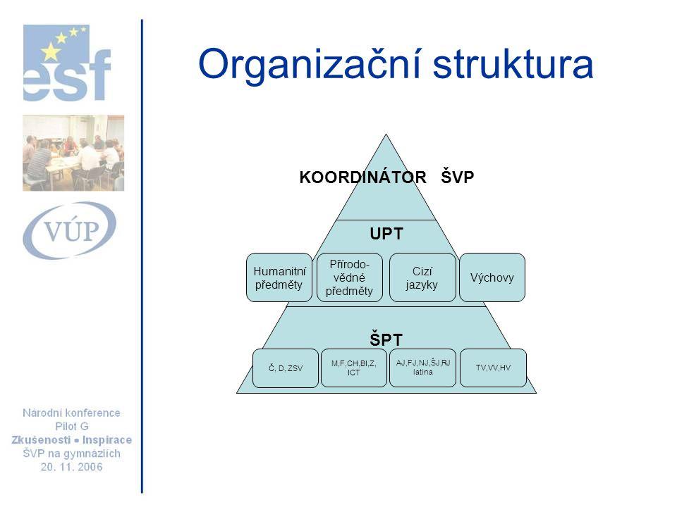 Organizační struktura Humanitní předměty Přírodo- vědné předměty Výchovy Cizí jazyky Č, D, ZSV M,F,CH,BI,Z, ICT AJ,FJ,NJ,ŠJ,RJ latina TV,VV,HV