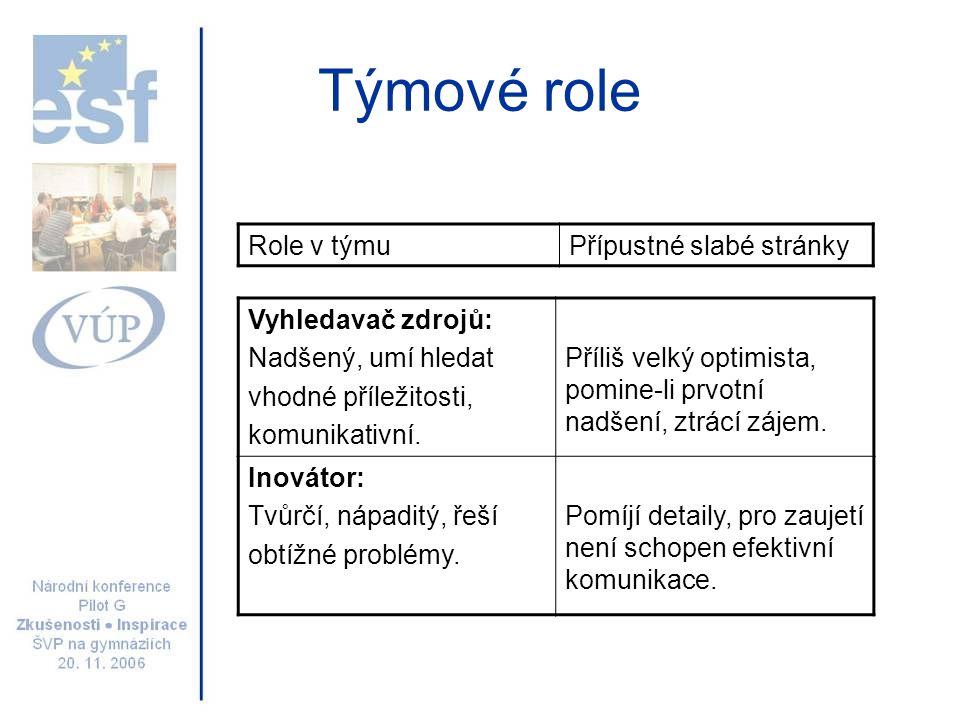 Týmové role Usměrňovač: Dynamický, náročný, inspirující, se spoustou energie.