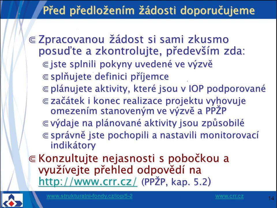 www.strukturalni-fondy.cz/iop/5-2www.strukturalni-fondy.cz/iop/5-2 www.crr.czwww.crr.cz 14 Před předložením žádosti doporučujeme ⋐Zpracovanou žádost si sami zkusmo posuďte a zkontrolujte, především zda: ⋐jste splnili pokyny uvedené ve výzvě ⋐splňujete definici příjemce ⋐plánujete aktivity, které jsou v IOP podporované ⋐začátek i konec realizace projektu vyhovuje omezením stanoveným ve výzvě a PPŽP ⋐výdaje na plánované aktivity jsou způsobilé ⋐správně jste pochopili a nastavili monitorovací indikátory ⋐Konzultujte nejasnosti s pobočkou a využívejte přehled odpovědí na http://www.crr.cz/ (PPŽP, kap.