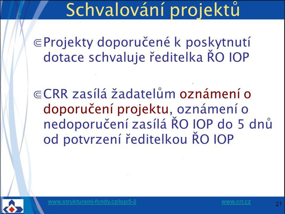 www.strukturalni-fondy.cz/iop/5-2www.strukturalni-fondy.cz/iop/5-2 www.crr.czwww.crr.cz 21 Schvalování projektů ⋐Projekty doporučené k poskytnutí dotace schvaluje ředitelka ŘO IOP ⋐CRR zasílá žadatelům oznámení o doporučení projektu, oznámení o nedoporučení zasílá ŘO IOP do 5 dnů od potvrzení ředitelkou ŘO IOP