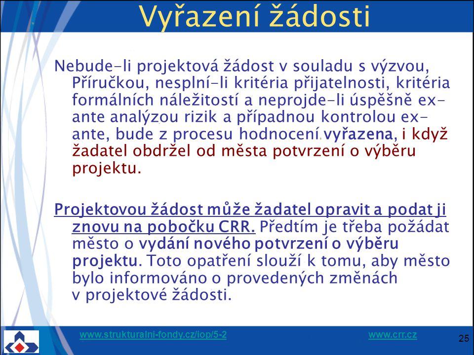 www.strukturalni-fondy.cz/iop/5-2www.strukturalni-fondy.cz/iop/5-2 www.crr.czwww.crr.cz 25 Vyřazení žádosti Nebude-li projektová žádost v souladu s výzvou, Příručkou, nesplní-li kritéria přijatelnosti, kritéria formálních náležitostí a neprojde-li úspěšně ex- ante analýzou rizik a případnou kontrolou ex- ante, bude z procesu hodnocení vyřazena, i když žadatel obdržel od města potvrzení o výběru projektu.