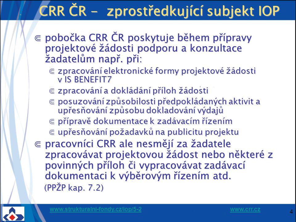 www.strukturalni-fondy.cz/iop/5-2www.strukturalni-fondy.cz/iop/5-2 www.crr.czwww.crr.cz 4 CRR ČR - zprostředkující subjekt IOP ⋐pobočka CRR ČR poskytuje během přípravy projektové žádosti podporu a konzultace žadatelům např.