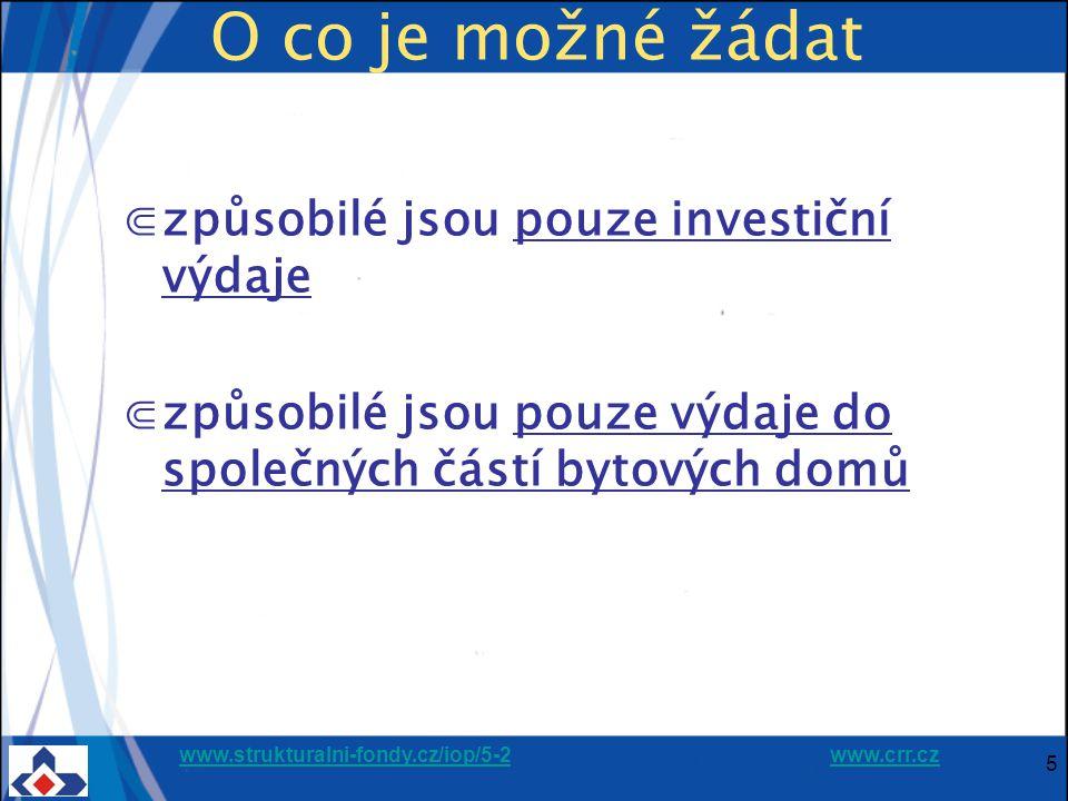 www.strukturalni-fondy.cz/iop/5-2www.strukturalni-fondy.cz/iop/5-2 www.crr.czwww.crr.cz 36 12.4.201536 Oblast intervence 5.2.b) Celkové uznatelné výdaje – 100% Dotace ERDF + SR* 40% - 60% Spoluúčast majitelů domů 60%-40% * V případě Jihozápadu činí dotace 36% (30%) - spoluúčast 44% - 70% Financování 5.2.b) Regenerace bytových domů Dotace ERDF 85% Dotace SR 15%
