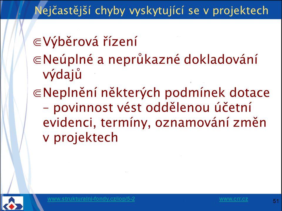www.strukturalni-fondy.cz/iop/5-2www.strukturalni-fondy.cz/iop/5-2 www.crr.czwww.crr.cz 51 Nejčastější chyby vyskytující se v projektech ⋐Výběrová řízení ⋐Neúplné a neprůkazné dokladování výdajů ⋐Neplnění některých podmínek dotace – povinnost vést oddělenou účetní evidenci, termíny, oznamování změn v projektech