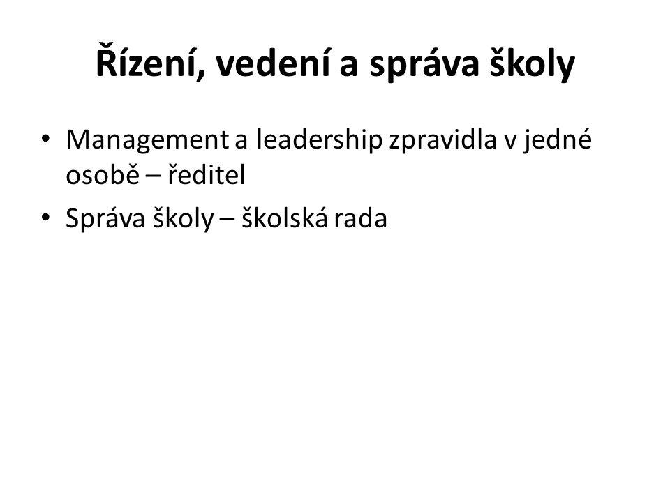 Řízení, vedení a správa školy Management a leadership zpravidla v jedné osobě – ředitel Správa školy – školská rada