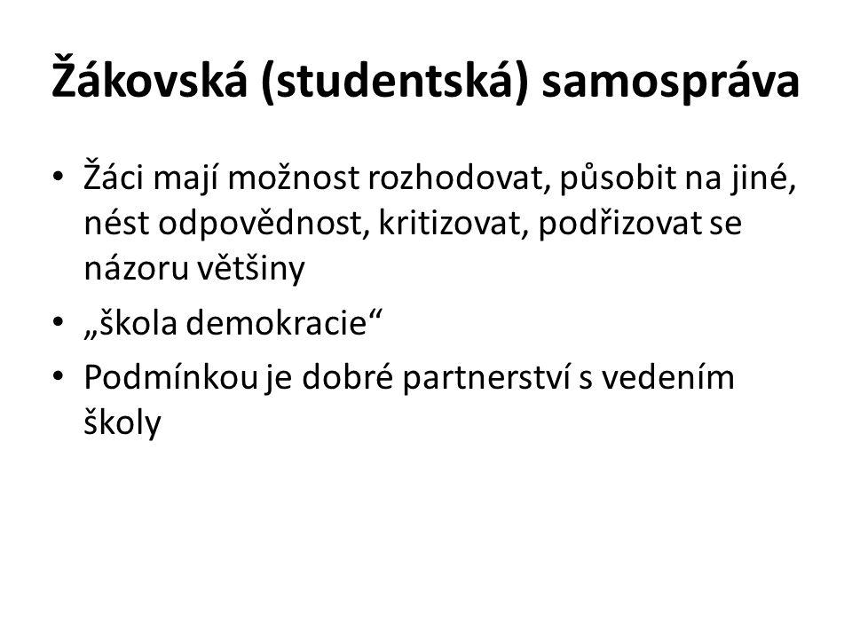 """Žákovská (studentská) samospráva Žáci mají možnost rozhodovat, působit na jiné, nést odpovědnost, kritizovat, podřizovat se názoru většiny """"škola demo"""