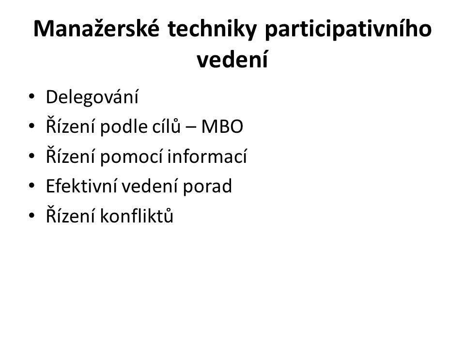 Manažerské techniky participativního vedení Delegování Řízení podle cílů – MBO Řízení pomocí informací Efektivní vedení porad Řízení konfliktů