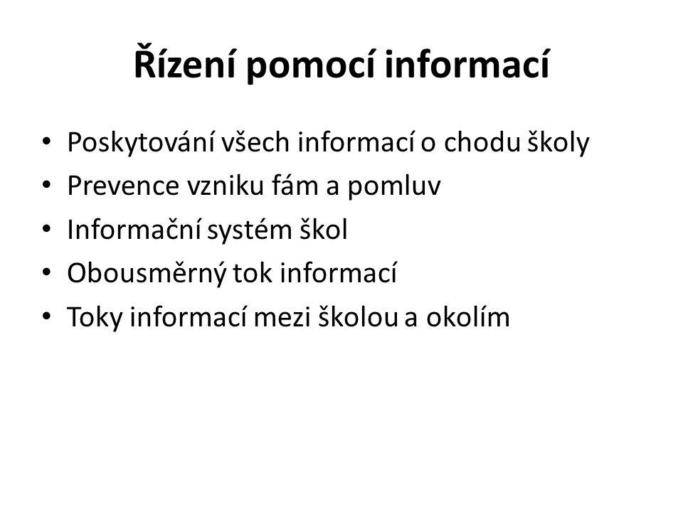 Řízení pomocí informací Poskytování všech informací o chodu školy Prevence vzniku fám a pomluv Informační systém škol Obousměrný tok informací Toky in
