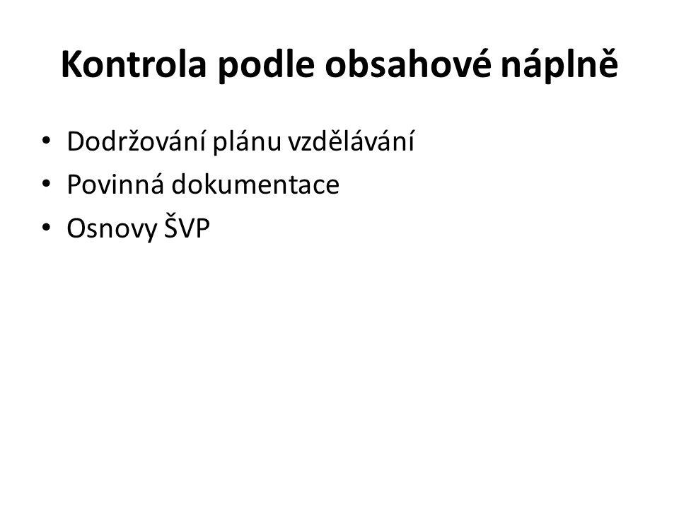 Kontrola podle obsahové náplně Dodržování plánu vzdělávání Povinná dokumentace Osnovy ŠVP