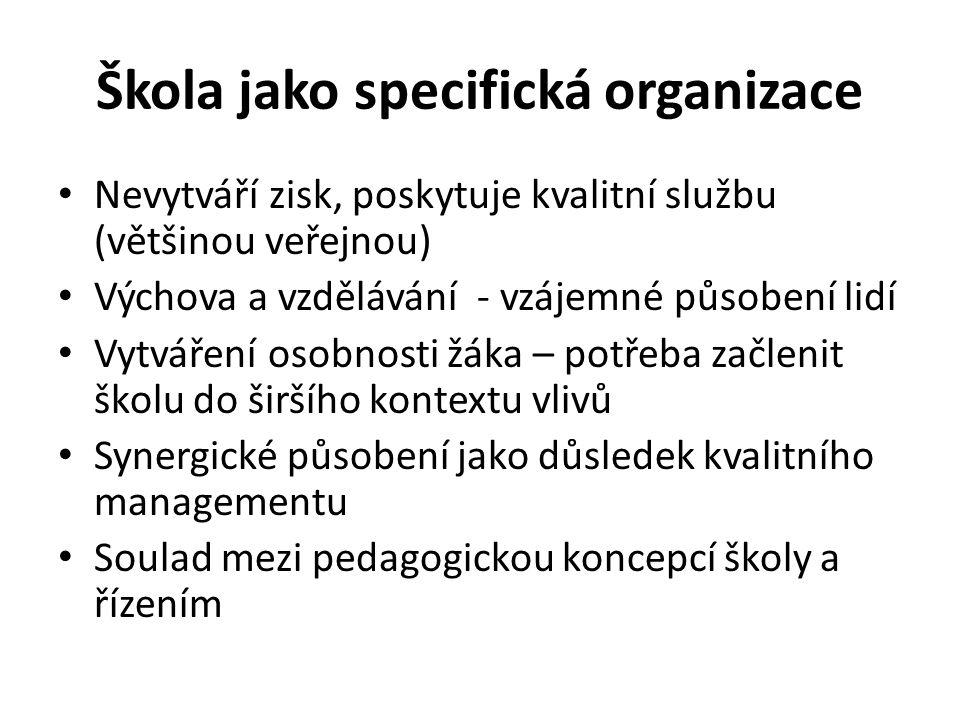 Škola jako specifická organizace Nevytváří zisk, poskytuje kvalitní službu (většinou veřejnou) Výchova a vzdělávání - vzájemné působení lidí Vytváření