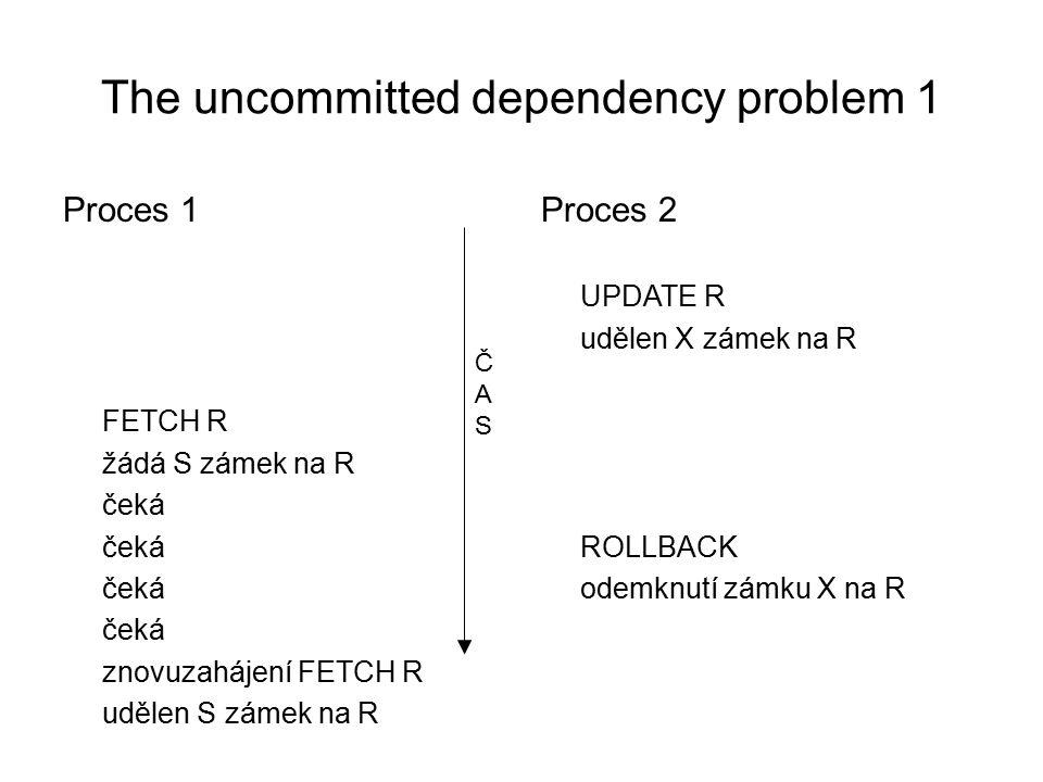 The uncommitted dependency problem 1 Proces 1 FETCH R žádá S zámek na R čeká znovuzahájení FETCH R udělen S zámek na R Proces 2 UPDATE R udělen X zámek na R ROLLBACK odemknutí zámku X na R ČASČAS