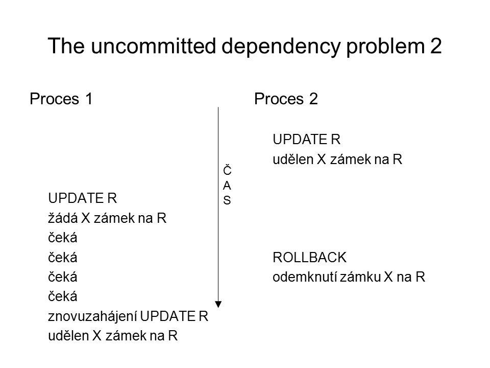 The inconsistent analysis problem Proces 1 FETCH R1 (30) suma = 30 udělen S zámek na R1 FETCH R2 (30) žádá S zámek na R2 čeká Proces 2 FETCH R2 (40) udělen S zámek na R2 UPDATE R2 (40 -> 30) udělen X zámek na R2 FETCH R1 (30) udělen S zámek na R1 UPDATE R1 (30 -> 20) žádá X zámek na R1 čeká ČASČAS Deadlock