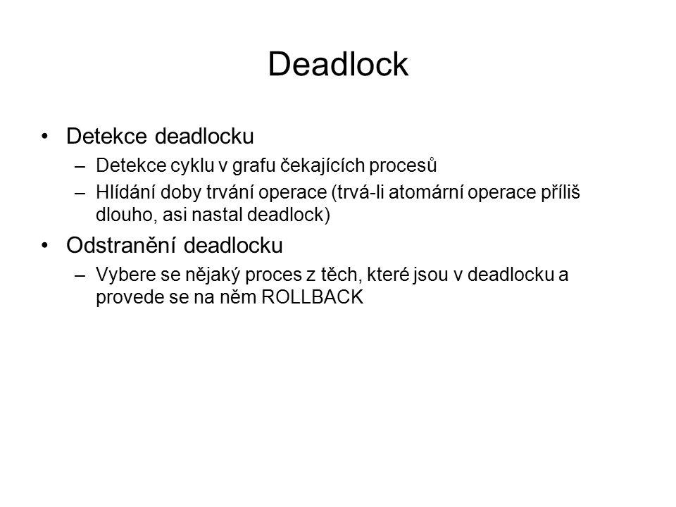 Deadlock Detekce deadlocku –Detekce cyklu v grafu čekajících procesů –Hlídání doby trvání operace (trvá-li atomární operace příliš dlouho, asi nastal
