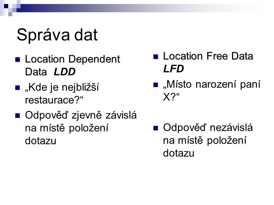 """Správa dat Location Dependent Data Location Dependent Data LDD """"Kde je nejbližší restaurace? Odpověď zjevně závislá na místě položení dotazu Location Free Data Location Free Data LFD """"Místo narození paní X? Odpověď nezávislá na místě položení dotazu"""